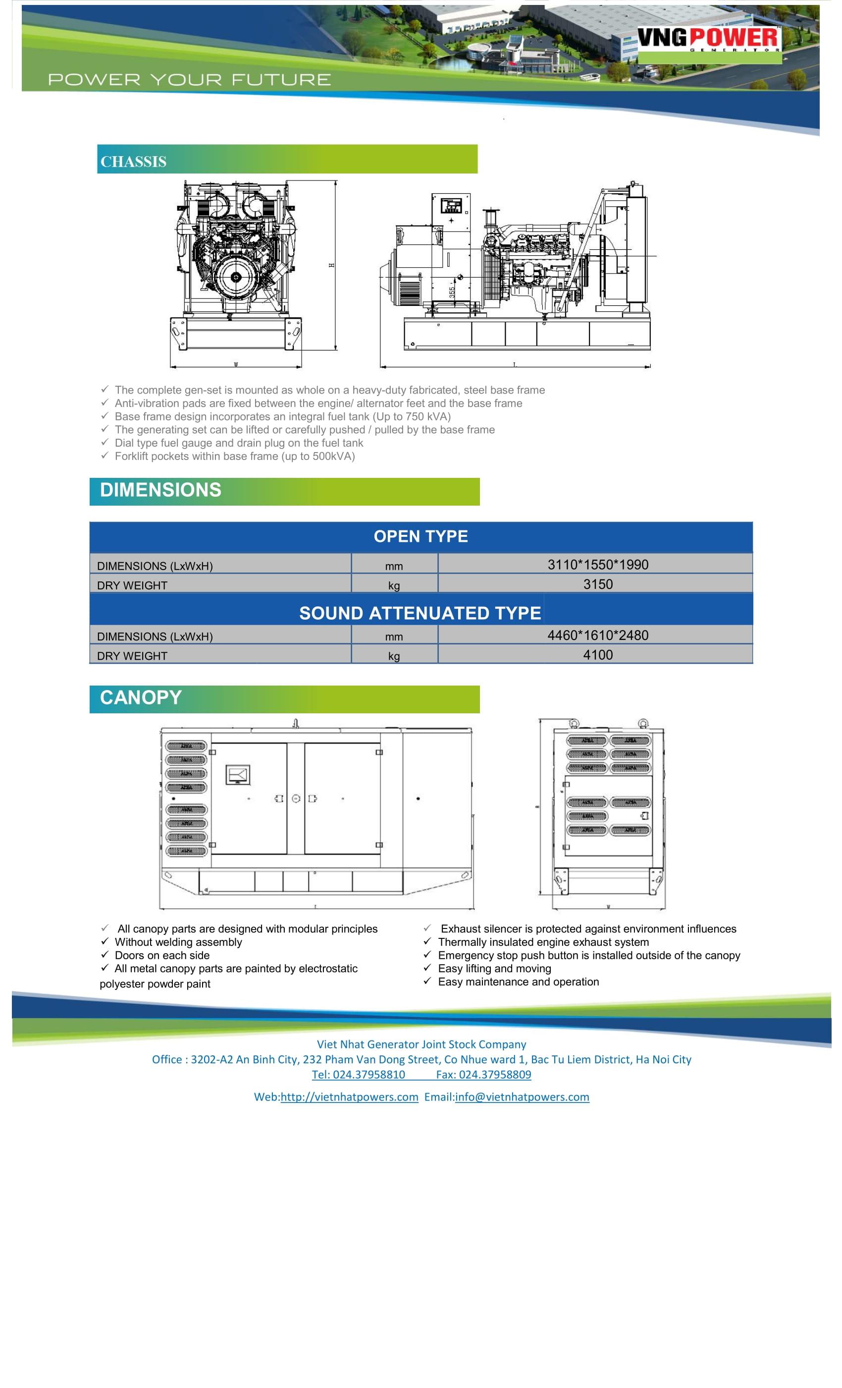 catalogue máy phát điện doosan 440kva - VNG440DS-4